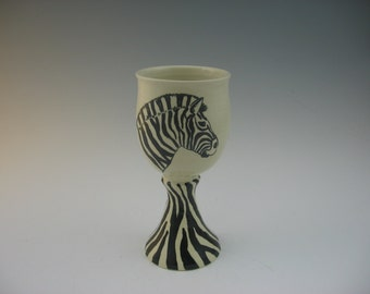 Handmade Goblet with Painting of a Zebra