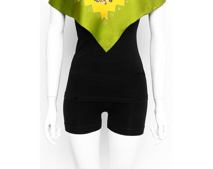 Silk Scarf HandPainted, Aztec scarf, Yellow scarf. Batik silk scarf, Maya art, Unique gift idea, Luxury scarf, Art to wear, Square scarf