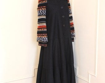 1980s Japanese Black Wool Cosplay Coat with Striped Knit Sleeves - dramatic bell shaped - size extra small to small, xs/s