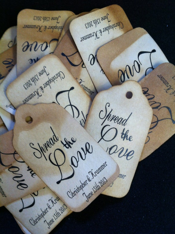 "SPREAD the LOVE 100 SMALL Personalized Favor 2""  Tag"