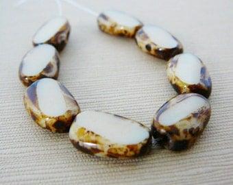 Czech Glass Beads, Oval, Creamy Beige