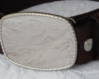 """RESERVED - 6 Belt Buckle Bases - Silver Tone Rectangle - Rope Edge - Shiny Silver Tone Metal Rectangular Blanks -  3 1/4"""" x 2 1/4"""""""