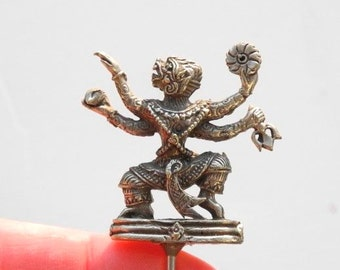 Miniature Hindu Figure Hanumana for Living Meditation Garden Miniature Prayer Garden Personal Altar Dollhouse Miniature White Metal Staked