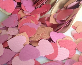 Tropical Collection Coral Crush Heart Wedding Confetti Shabby Chic - wedding table decoration, confetti, baby shower decoration, baby girl