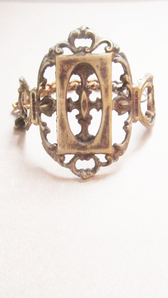 Cuff Bracelet Brass Filigree Bracelet Victorian Hardware Jewelry A Game of Thrones Cross Bracelet Gothic Noir DanielleRoseBean Metal Cuff