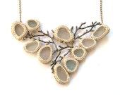 Bib Sea glass necklace twig necklace Valentine gift for her ooak bride jewelry collar beige ivory crochet seaglass bronze tree beach Wedding