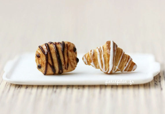 Sugar Croissants Earrings, Miniature Food Jewelry, Paris Collection