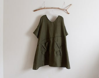 handmade to measure plus size  running lines linen slip tunic dress