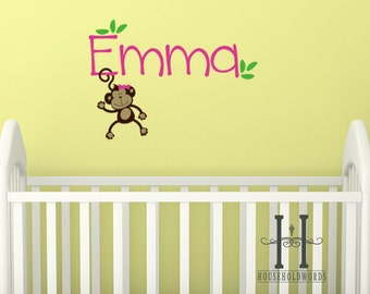 Monkey Monogram Wall Decal, Girls Monkey Wall Decal, Baby Nursey Wall Decal, Kids name Wall Decals, Personalized Baby Gifts, Monkey hair bow