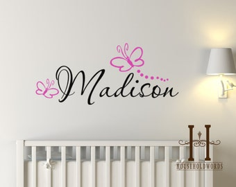 Butterfly Wall Decal, Monogram Decal, Butterfly Monogram Vinyl Decal Sticker, Monogram Wall Decal, Custom Name Decal, Girls Monogram Decal