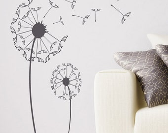 "Dandelion Wall Decal - Large Decal - 65"" Tall - Dandelion Wall Art - Floral Decor - Vinyl Decal - Wall Vinyl"