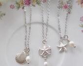 Silver Starfish Necklace, Sterling Shell, Sand dollar, Beach Wedding, Nautical, Bridesmaid Gift