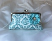 THE 'SOMETHING BLUE' Clutch Bridesmaid clutch purse Pool Blue damask and silk lining photo