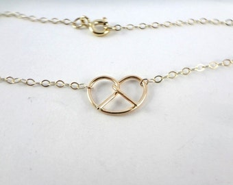 14K Gold pretzel necklace Gold love knot necklace Gold necklace, Philly love, Philly wedding, Philadelphia
