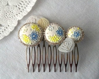 blueberry sunshine - COMB - clay embroidery, french-beaded petals - white, blue, yellow