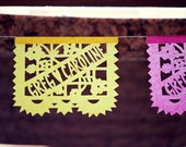 Wedding Papel Picado - Sets of 2 banners - LOS NOVIOS - personalized, custom color