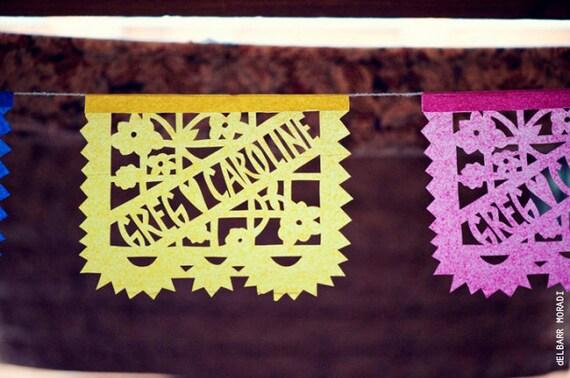 Papel Picado - Sets of 2 banners - personalized LOS NOVIOS - custom color