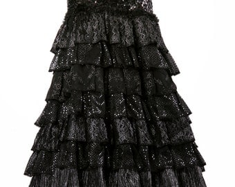 SALE, READY 2 SHIP, Skirt, Sparkle, Flamenco, Cabaret, Black, Ruffles, Belly Dance, Vampire, Gothic, Dark Fusion Boutique
