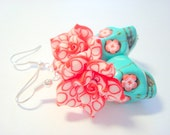Turquoise, Red, and White Day of the Dead Roses and Sugar Skull Earrings Large