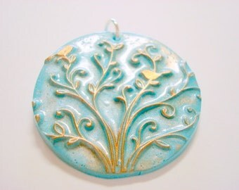 Light Turquoise and Bronze Birds in Tree of Life Handmade Polymer Clay Pendant