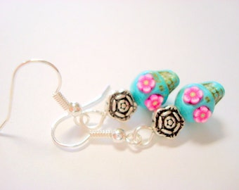 Tiny 10mm Pink and Turquoise Day of the Dead Sugar Skull Earrings