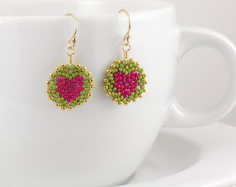 Beadwoven Heart Mandala Earrings ( berry pink / olive green ) - -Gold-filled Earrings / Vibrant / Happy / Youthful / Cheery / Gift for Her
