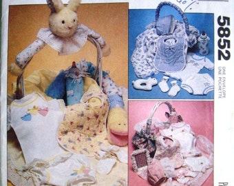 McCalls 5852 Baby Gifts Pattern UNCUT Sewing Pattern. Infants' Basket/Gifts Package. Bib, Bonnet, Blanket, and more