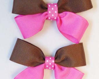 Pink Hair Bow Brown Hair Bow Pink And Brown Bow Girls Pink Bow Girls Brown Bow Barrettes And Clips