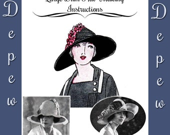 Vintage Sewing Pattern 1920's Large Brim Hat Depew 3018 Digital Print at Home Version -INSTANT DOWNLOAD-
