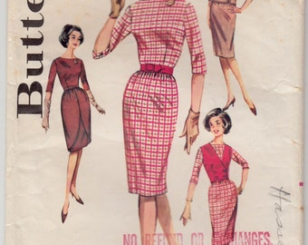 Vintage Sewing Pattern Ladies Wiggle Dress 1960's Butterick 9935 34 Bust