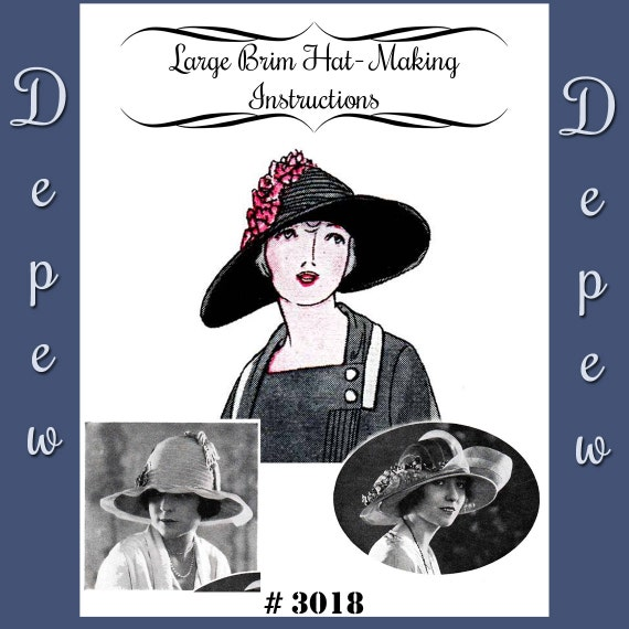 1920s Style Hats 1920s Large Brim Hat Depew 3018 Digital Print at Home Version -INSTANT DOWNLOAD-Vintage Sewing Pattern 1920s Large Brim Hat Depew 3018 Digital Print at Home Version -INSTANT DOWNLOAD- $5.62 AT vintagedancer.com