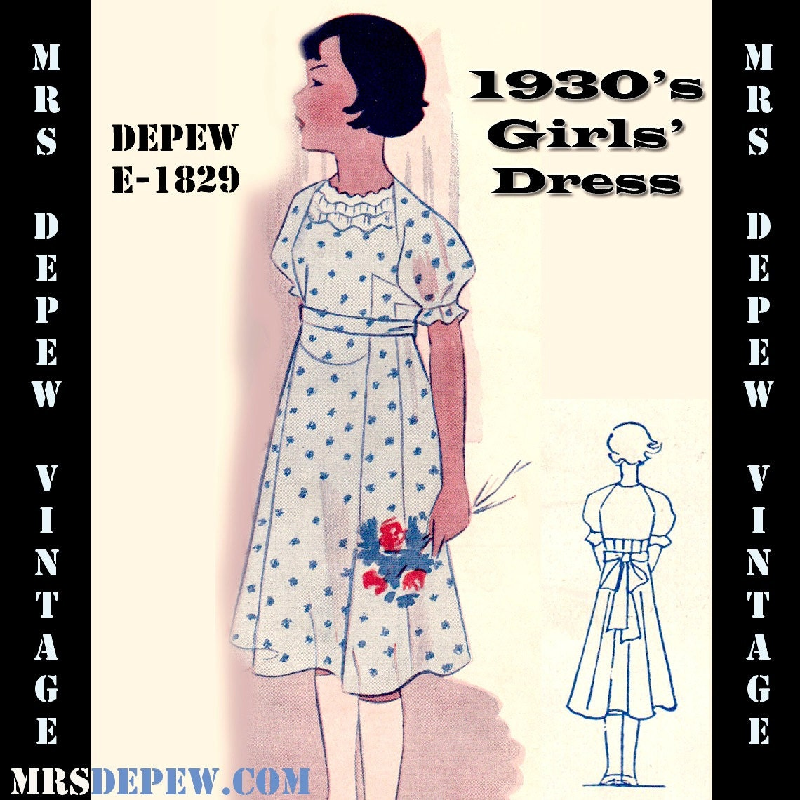 1930s Style Girls Dress Patterns