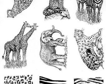 Leopard, Jaguar, Zebra, Giraffe, Elephant, Animal Patterns Rubber Stamp Sheet, Full Unmounted Plate 59