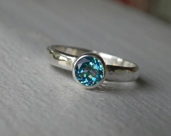 Mystic Topaz Engagement Ring - Mystic Topaz Ring - Caribbean Blue Topaz - Silver Stacking Ring - Mystic Topaz Solitaire - Gemstone Stacker
