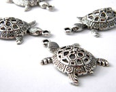 Turtle Charms Set of 4 Silver Color 39x25mm