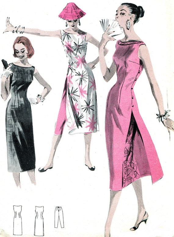 1950s Dress Pattern Butterick 7790 Womens Cheongsam Dress