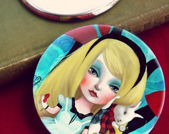 Alice  pocket mirror -- 3 inch one-side pocket mirror, white rabbit mirror, lewis carroll fairytale mirror for little girl -  by Meluseena