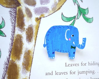 Bow tie blue elephant brooch - hand drawn brooch
