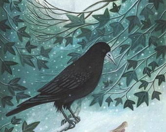 Winter Guardians. Ivy/bird/friends/companions/Art/Print/ by Karen Davis