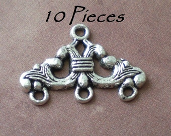 10 Tibetan Silver 3 Hole Connector Charms