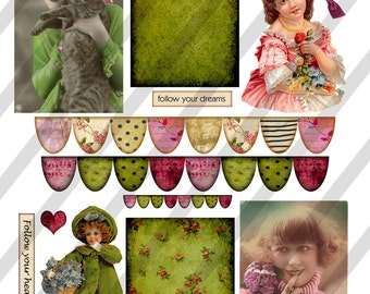 Digital Collage Sheet  Vintage Images  (Sheet no. O97) Ephemera-Instant Download