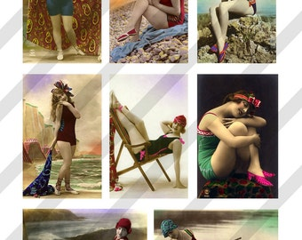 Digital Collage Sheet Vintage Bathing Beauty Images Postcards(Sheet no. O183) Instant Download
