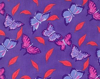 Butterfly Purple and Red Jill Gordon Freespirit Fabric 1 yard