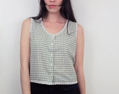 1990s Green Gingham Crop Top Size S