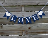 Love Banner in Navy Blue and White - Wedding decoration and photo prop