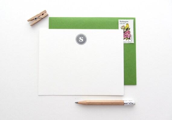 Letterpress - Circle Monogram Stationery - Custom set of 35 note cards