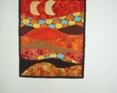 Sunny Light Orange Moons Mini Patched Landscape Quilt