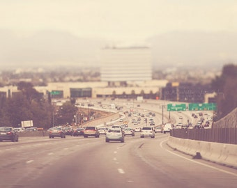 photography, LA freeway photograph, the 405 Los Angeles, landscape, travel, winter day, neutral tones, urban decor