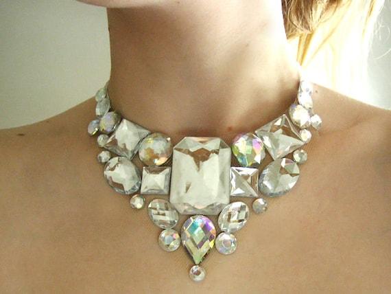 Elegant Crystal AB Rhinestone Bib Necklace, Clear AB Rhinestone Bridal Statement Necklace, Crystal Aurora Borealis Bib Necklace