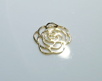 1pc- Matte Gold Plated Lotus, Rose Charm-24x24mm (012-013GP)